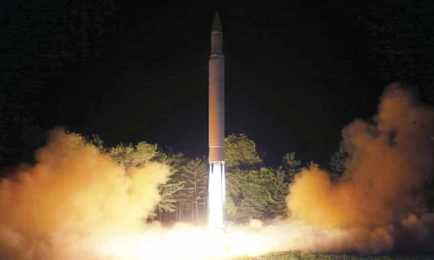 A photo distributed by the North Korean government on 29 July shows what was said to be the launch of a Hwasong-14 intercontinental ballistic missile.