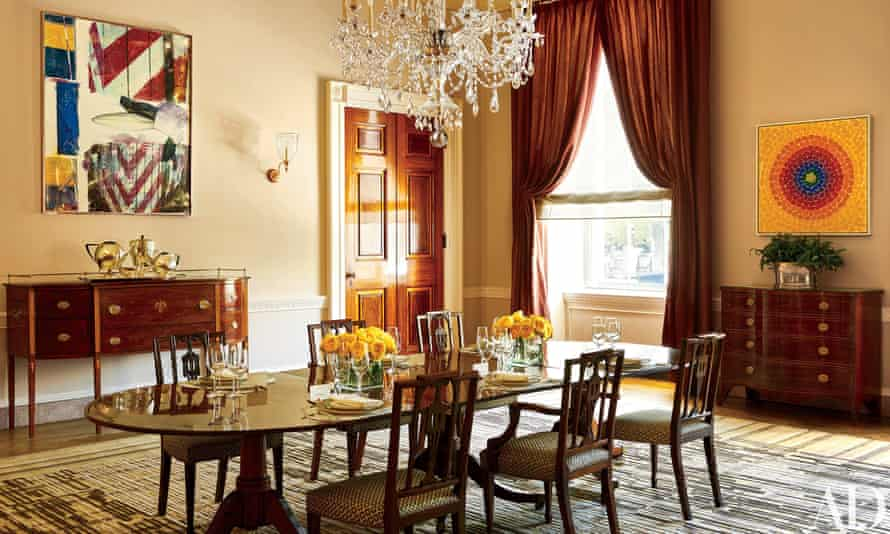 Michelle Obama redesigned the old family dining room, giving it a modern twist.  The Alma Thomas artwork, right, is the first in the White House by an African-American artist.