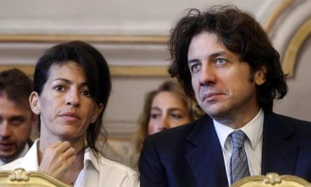 Italian right-to-die activist Marco Cappato with DJ Fabo's girlfriend, Valeria Imbrogno