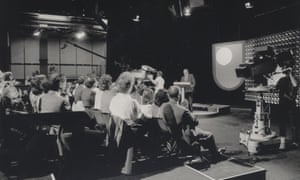 An early BBC studio broadcasting OU productions