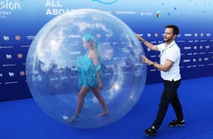 A performer prepares for the opening ceremony of the Eurovision song contest in Lisbon