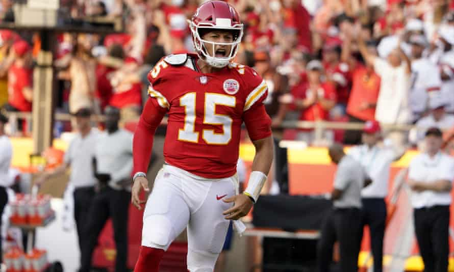 Patrick Mahomes celebrates after throwing a touchdown pass