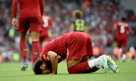 Mohamed Salah practises the sujood after scoring for Liverpool against Arsenal in August.