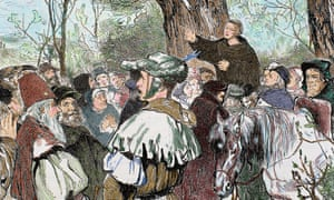 Engraving of Martin Luther preaching to a crowd in 1520