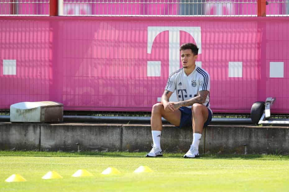 Philippe Coutinho during a rehabilitation session at Bayern Munich's training ground last month. The Brazilian is on loan at the German club from Barcelona