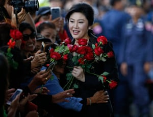 Bangkok, Thailand Former Thai prime minister Yingluck Shinawatra is greeted by supporters