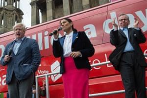 Britain's Got Talent: Boris Johnson, Priti Patel and Michael Gove in Preston on Wednesday.