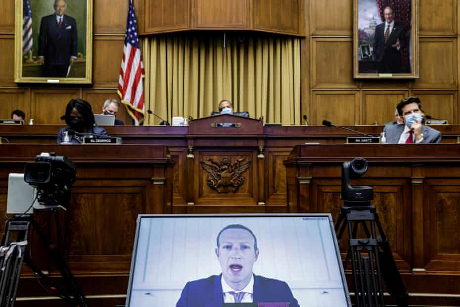 Mark Zuckerberg speaks during a hearing of the House judiciary subcommittee on antitrust, commercial and administrative law, on Capitol Hill, 29 July.