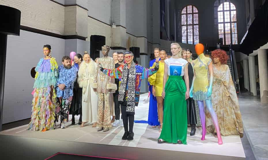Models pose with designers Luke Sales and Anna Plunkett (left) Camilla Franks, Jordan Dalah, Jenny Kee, Bianca Spender, Alexandra and Genevieve Smart, and Julie Shaw at the Sydney Powerhouse Museum on 15 June, at the announcement of new State investment.