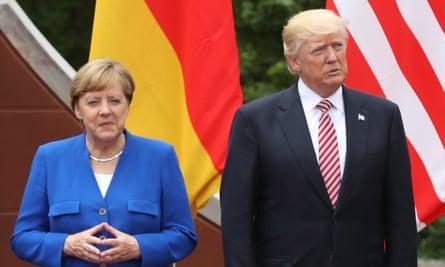 Angela Merkel and Donald Trump in Taormina last month