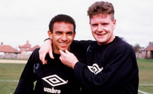 Mirandinha with his old friend Paul Gascoigne at Newcastle training in 1987.