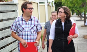 The Labor candidate for Batman, Ged Kearney, while door-knocking in Preston with volunteers Matt Zammit and Christine Ewing