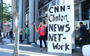 Trump supporter outside the CNN building in Hollywood, California