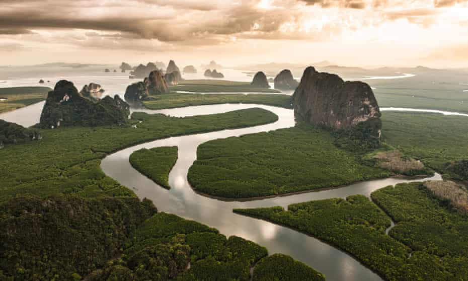 The mangrove forests of Phang Nga Bay, Thailand, in an image from Michael Poliza's The World.