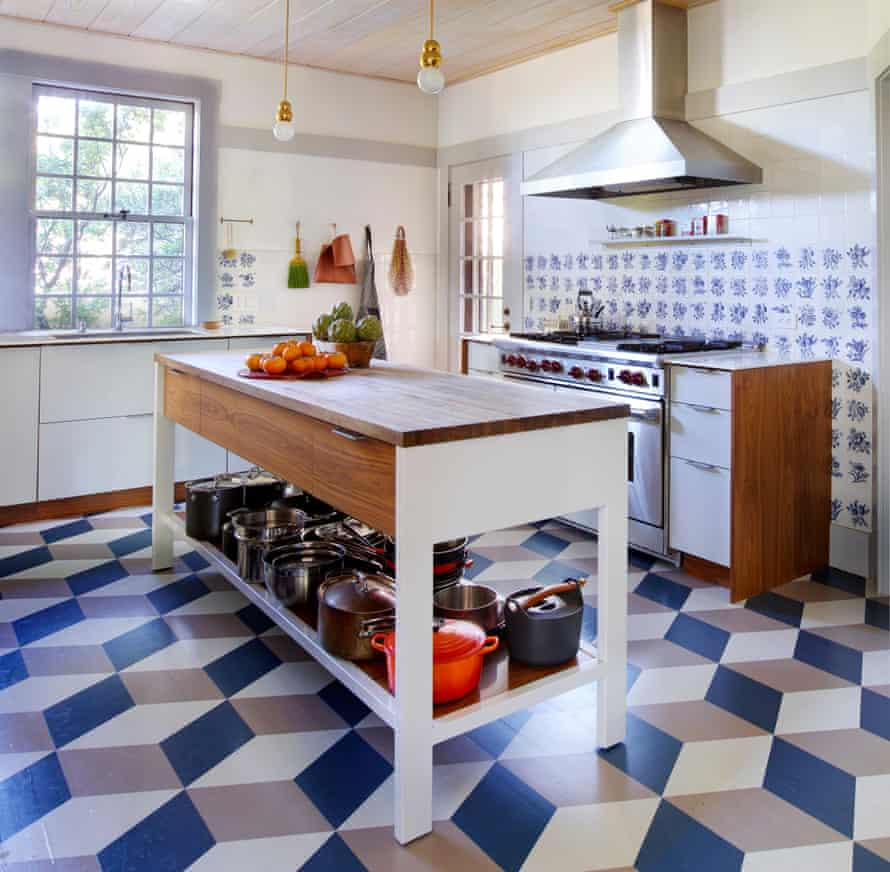 Light touch: the kitchen floor is custom painted in Farrow & Ball paints.
