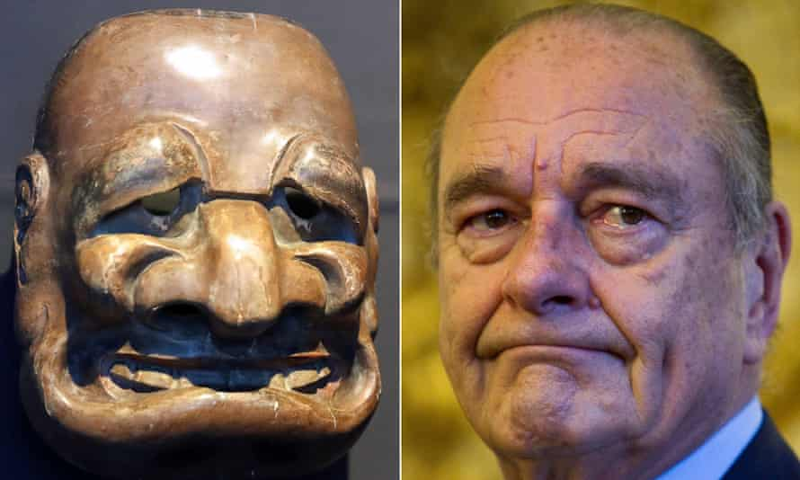 Composite of Japanese mask and Jacques Chirac