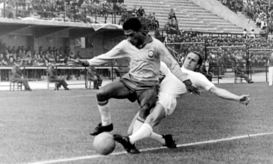 Ray Wilson could do little against the devastating pace of Brazil's right-winger Garrincha during the 1962 World Cup quarter final.