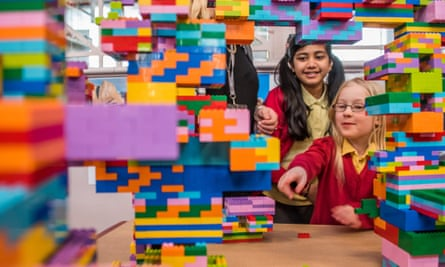 Children at the V&A Museum of Childhood Lego sculpture exhibition