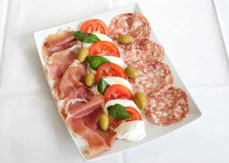 'Gossamer slices of prosciutto, perfectly oily pieces of salami and snowy mozzarella': antipasto.