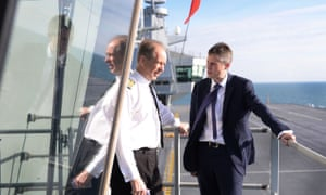 Captain Jerry Kyd (left) with defence secretary Gavin Williamson onboard HMS Queen Elizabeth.