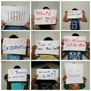 Picture of protesting detainee children on Nauru.