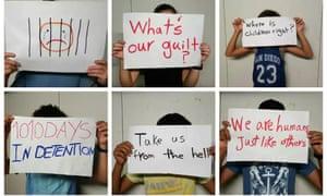 Protesting detainee children on Nauru, April 2016.