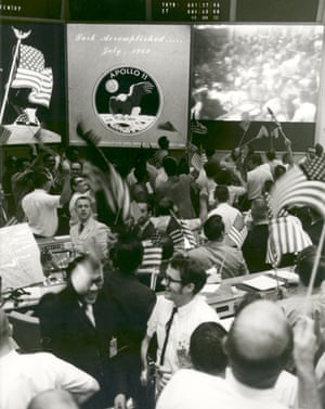 Mission control celebrates after conclusion of Apollo 11 mission on 24 July 1969