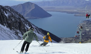 All the ski runs look out over the lake at Ohau Snow Fields, New Zealand