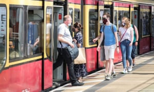 Passengers wearing face masks are seen  an S-Bahn train in Berlin, capital of Germany, on 27 June 2020.
