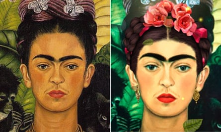 On the left is Frida Kahlo's Self-Portrait with Thorn Necklace and Hummingbird (1940), on the right is the same self-portrait run through Snapchat's filter.