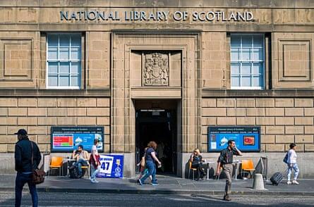 The entrance to the National Library of Scotland on George IV Bridge, Edinburgh, Scotland.