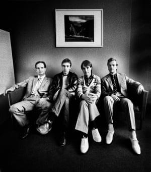 Kraftwerk in 1976, with Schneider, left.