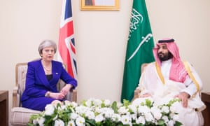 The UK prime minister, Theresa May, and Saudi Arabia's crown prince, Mohammed bin Salman, meet at the G20 summit in Buenos Aires, Argentina