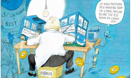 Bollinger Boris Johnson works hard on a deal – cartoon