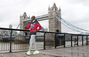Mo Farah poses for the media during a photo call for the London Marathon on Wednesday.