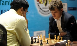 Norway's Magnus Carlsen competing against India's Viswanathan Anand in 2013