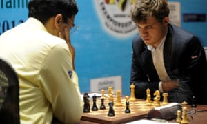 Magnus Carlsen, right, playing Vishwanath Anand in the world chess championship in 2013.