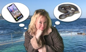 Photoshop of Brigid in front of the Bronte pool thinking about the brown snake and her phone