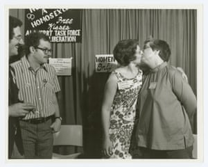 Barbara Gittings and Isabel Miler kissing at the 'Hug a Homosexual' booth at the 1971 American Library Association Convention. The ALA's Take Force on Gay Liberation was the very first LGBTQ professional organization in America, in 1970.