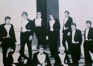 An oil painting of Bullingdon Club members, including Boris Johnson and David Cameron.