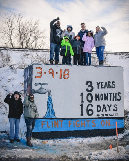 Citizen activists campaigning for clean water in Flint, Michigan in March 2018.