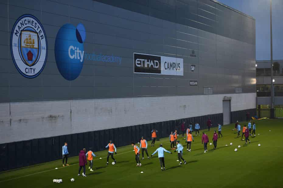 Manchester City players in training session at the City Football Academy in Manchester.