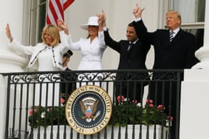 Donald Trump and first lady Melania Trump welcome French President Emmanuel Macron and his wife Brigitte Macron during an arrival ceremony at the White House in Washington