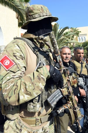 Tunisian security forces guard the hotel in Sousse after the attack.