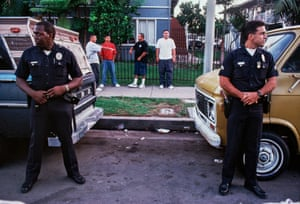 Officers Edwards, left, and Llanes, right, of the Pacific division on patrol