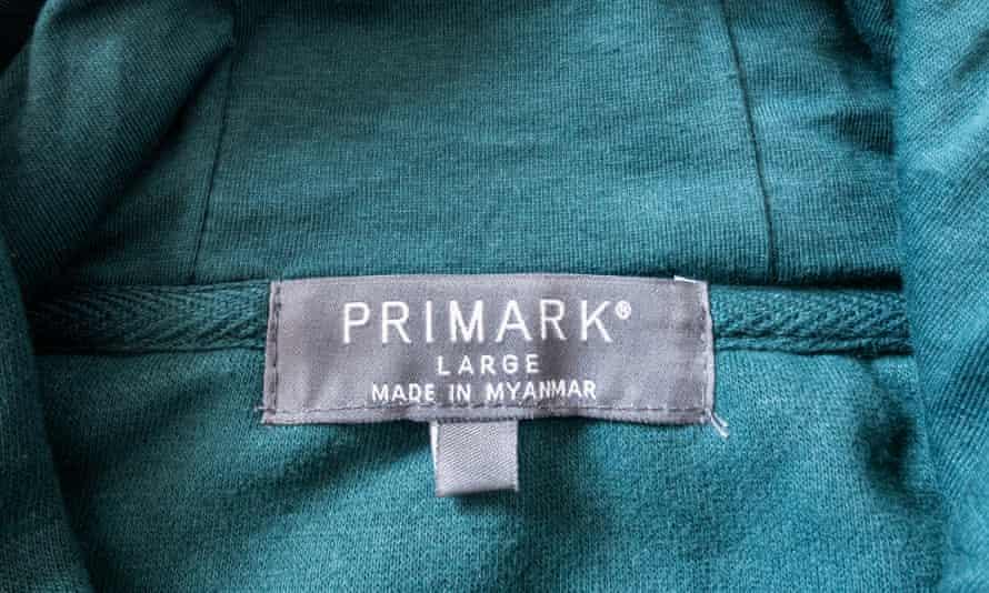 Primark garment label saying Made in Myanmar