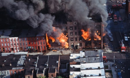 Aerial view of a Brooklyn building burning in the wake of the New York City blackout, Brooklyn, New York, New York, July 14, 1977.