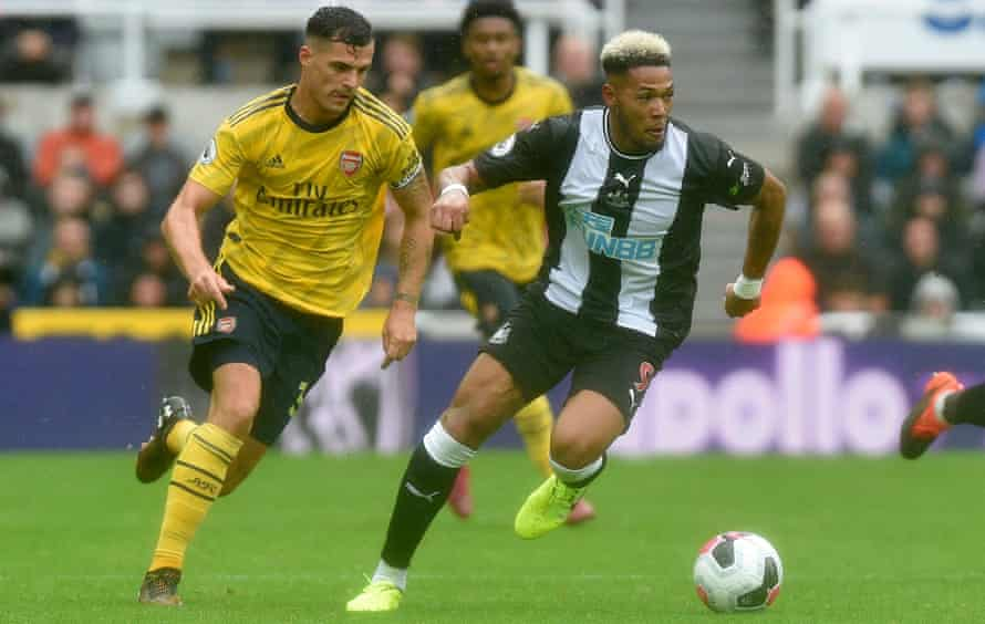 Granit Xhaka pursues Joelinton during Arsenal's 1-0 win against Newcastle in August.