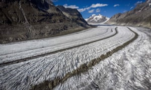 A photo taken on October 1, 2019 shows the Aletsch glacier above Bettmeralp in the Swiss Alps. The Aletsch, the largest glacier in the Alps, could completely disappear by the end of this century if nothing is done to rein in climate change, a study showed on September 12, 2019 by ETH technical university in Zurich.