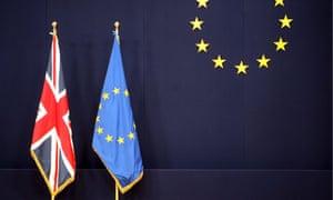 The British flag alongside the EU's